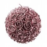 Pink Rose Decorative Wax Candle Ball - Large Wax Ball Candle With Etched Rose Detailing